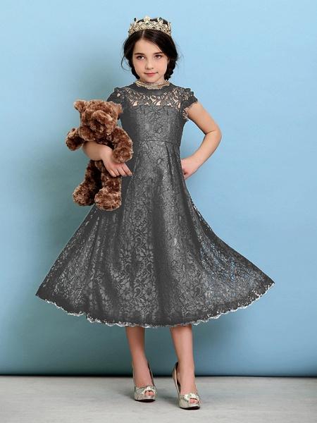 Princess / A-Line Jewel Neck Tea Length Lace Junior Bridesmaid Dress With Pleats / Natural_26