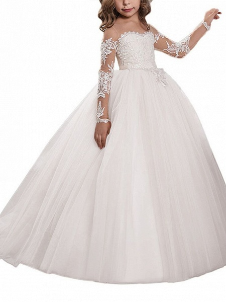 Ball Gown Sweep / Brush Train Wedding / Birthday / Pageant Flower Girl Dresses - Lace / Tulle Long Sleeve Off Shoulder With Lace / Embroidery / Appliques_5