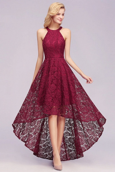 Burgundy Halter Sleeveless Sheath Lace Dresses_4