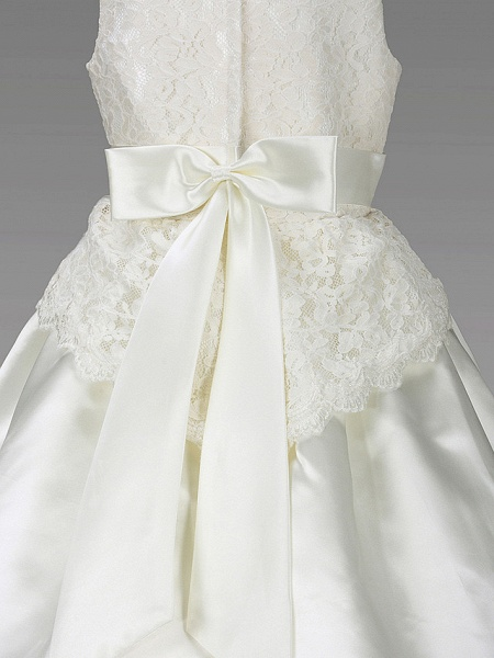 Princess / A-Line Floor Length Wedding / First Communion Flower Girl Dresses - Lace / Satin Sleeveless Scoop Neck With Lace / Sash / Ribbon / Bow(S) / Spring / Summer / Fall / Winter_10