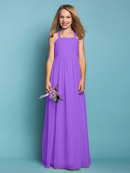 Sheath / Column Halter Neck Floor Length Chiffon Junior Bridesmaid Dress With Ruched / Spring / Summer / Fall / Apple / Hourglass_30