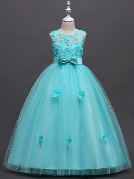 Princess / Ball Gown Floor Length Wedding / Party Flower Girl Dresses - Tulle Sleeveless Jewel Neck With Sash / Ribbon / Bow(S) / Appliques_1