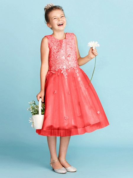 Princess / A-Line Jewel Neck Knee Length Lace / Tulle Junior Bridesmaid Dress With Bow(S) / Appliques / Wedding Party_29