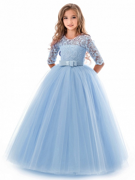 Princess Long Length Wedding / Party / Pageant Flower Girl Dresses - Lace / Tulle Half Sleeve Jewel Neck With Lace / Belt / Bow(S)_2