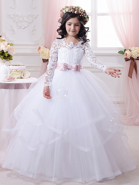 Ball Gown Sweep / Brush Train Wedding / Birthday / First Communion Flower Girl Dresses - Lace / Tulle / Cotton Long Sleeve Scalloped Neckline With Tier / Appliques / Solid_1