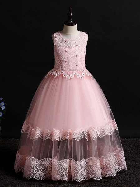 Princess Floor Length Wedding / First Communion / Pageant Flower Girl Dresses - Lace / Tulle Sleeveless Jewel Neck With Appliques / Solid_10