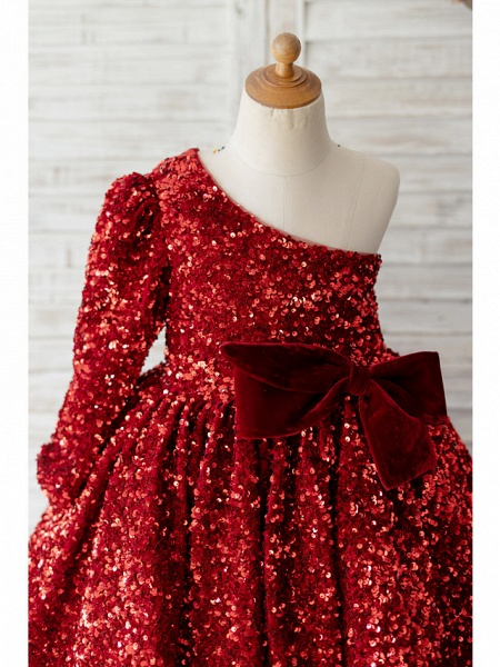 Ball Gown Knee Length Wedding / Birthday Flower Girl Dresses - Sequined Long Sleeve One Shoulder With Bow(S)_3