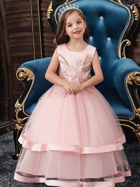 Princess / Ball Gown Floor Length Wedding / Party Flower Girl Dresses - Tulle Sleeveless Jewel Neck With Bow(S) / Appliques / Cascading Ruffles_1