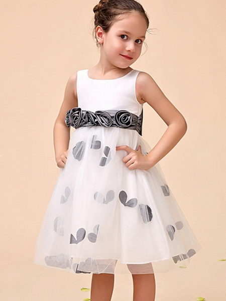 Ball Gown Ankle Length Party Flower Girl Dresses - Polyester Sleeveless Jewel Neck With Pattern / Print / Appliques_1