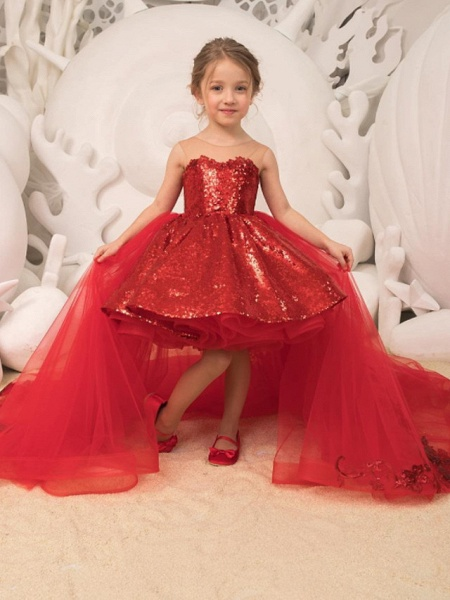Ball Gown Court Train Wedding / Party Flower Girl Dresses - Tulle Sleeveless Strapless With Bow(S) / Appliques / Paillette_1