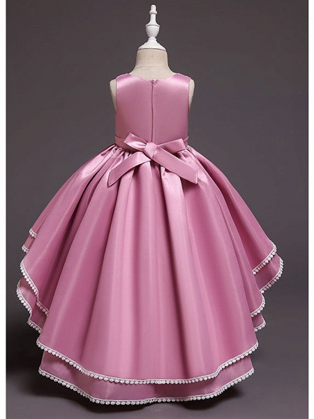 A-Line Asymmetrical Wedding / Party Flower Girl Dresses - Satin Chiffon Sleeveless Jewel Neck With Bow(S) / Appliques_7