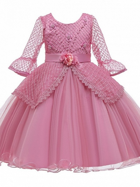 Princess / Ball Gown Knee Length Wedding / Party Flower Girl Dresses - Tulle Long Sleeve Jewel Neck With Sash / Ribbon / Bow(S) / Beading_8