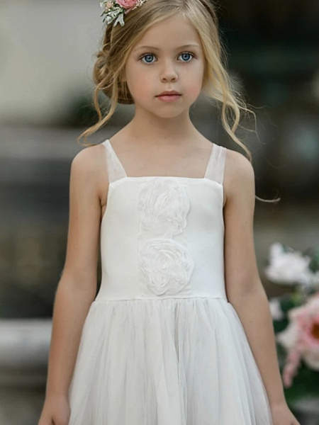 Princess / A-Line Knee Length Wedding / Party Flower Girl Dresses - Lace Sleeveless Jewel Neck With Tier / Solid_4