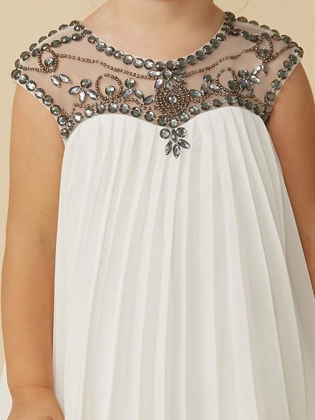 A-Line Tea Length Holiday Flower Girl Dresses - Chiffon Short Sleeve Jewel Neck With Beading_6