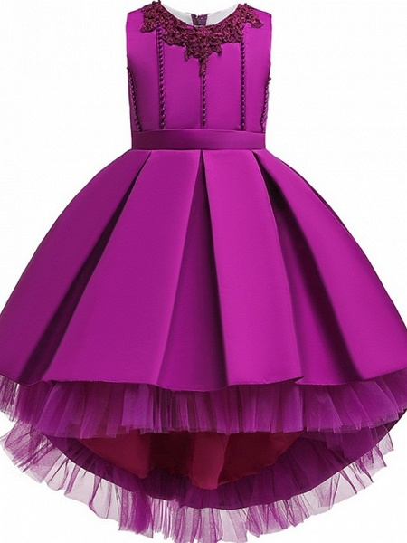 Princess / Ball Gown Knee Length Wedding / Party Flower Girl Dresses - Lace / Satin Sleeveless Jewel Neck With Sash / Ribbon / Pleats / Embroidery_5