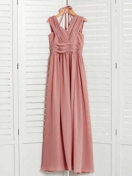 A-Line V Neck Maxi Chiffon Junior Bridesmaid Dress With Pleats / Ruching_3