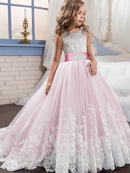 Princess / Ball Gown Court Train Wedding / Party Flower Girl Dresses - Tulle Sleeveless Jewel Neck With Bow(S) / Beading / Appliques_2