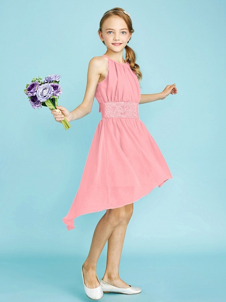 Sheath / Column Jewel Neck Asymmetrical Chiffon Junior Bridesmaid Dress With Sequin / Natural_25