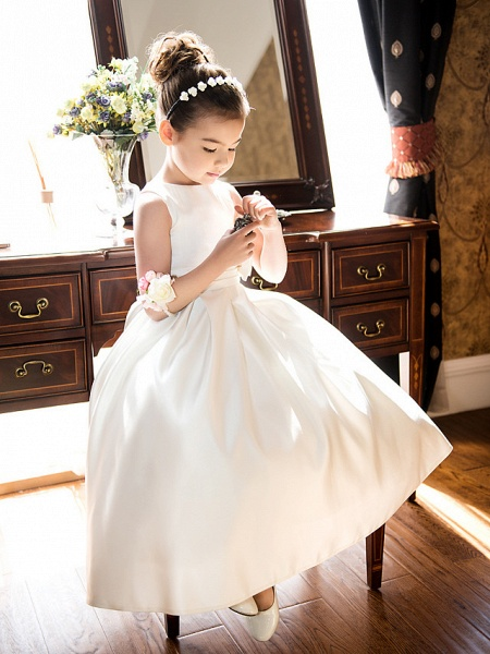 Princess / A-Line Tea Length Wedding / First Communion Flower Girl Dresses - Satin Sleeveless Jewel Neck With Bow(S) / Ruched_1