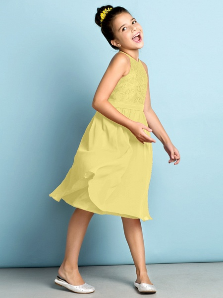 A-Line Jewel Neck Knee Length Chiffon / Lace Junior Bridesmaid Dress With Lace / Natural / Mini Me_38