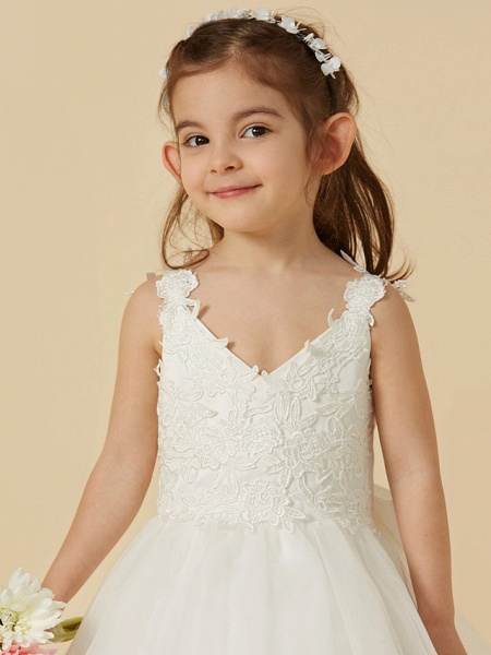 A-Line Knee Length Wedding / First Communion Flower Girl Dresses - Lace / Tulle Sleeveless V Neck With Bow(S)_7