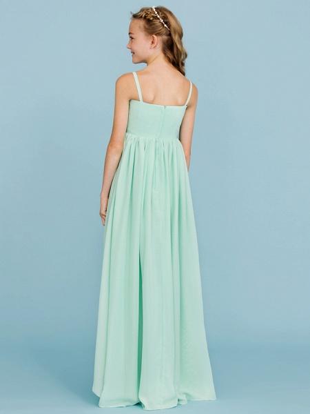 Princess / A-Line Spaghetti Strap Floor Length Chiffon Junior Bridesmaid Dress With Criss Cross / Pleats / Wedding Party / Open Back_2
