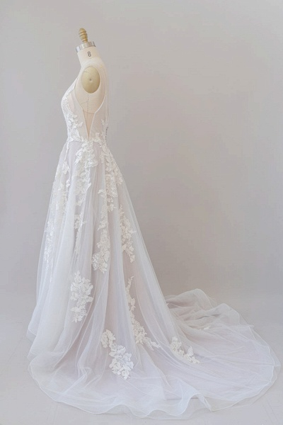 SD1959 Spaghetti Strap Lace Appliques Tulle Wedding Dress_4