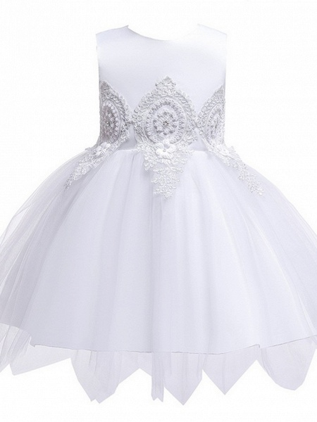 Princess / Ball Gown Knee Length Wedding / Party Flower Girl Dresses - Lace / Satin / Tulle Sleeveless Jewel Neck With Appliques_9
