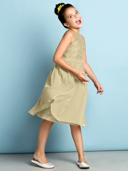 A-Line Jewel Neck Knee Length Chiffon / Lace Junior Bridesmaid Dress With Lace / Natural / Mini Me_14