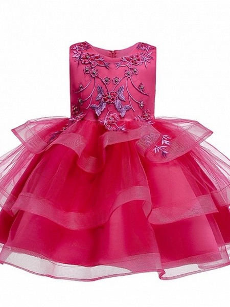 Princess / Ball Gown Knee Length Wedding / Party Flower Girl Dresses - Satin / Tulle Sleeveless Jewel Neck With Bow(S) / Beading / Tier_9
