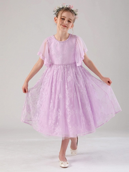 Princess / Ball Gown Ankle Length / Royal Length Train Formal Evening / Birthday Flower Girl Dresses - Lace / Tulle 3/4 Length Sleeve Jewel Neck With Lace / Beading / Solid