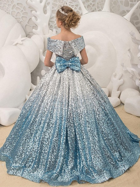 Princess / Ball Gown Sweep / Brush Train Wedding / Party Flower Girl Dresses - Sequined Short Sleeve Off Shoulder With Bow(S) / Pleats_2