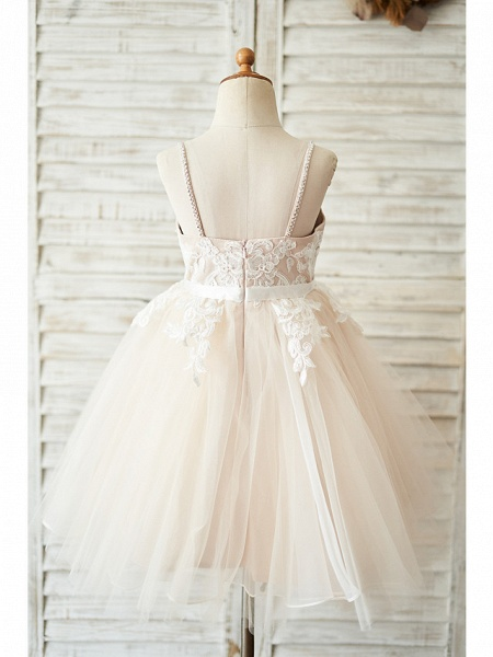 Ball Gown Knee Length Wedding / Birthday Flower Girl Dresses - Lace / Tulle Sleeveless Spaghetti Strap With Belt / Crystals_2