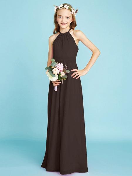 A-Line Halter Neck Floor Length Chiffon Junior Bridesmaid Dress With Sash / Ribbon / Natural_25