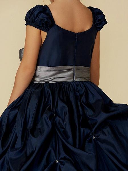 Ball Gown Floor Length Pageant Flower Girl Dresses - Taffeta Short Sleeve Scoop Neck With Belt / Bow(S)_9