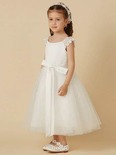 Princess Tea Length Wedding / First Communion Flower Girl Dresses - Lace / Satin / Tulle Short Sleeve Scoop Neck With Sash / Ribbon / Bow(S)_3