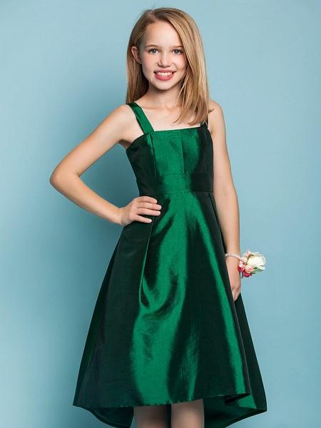 A-Line Straps Asymmetrical Taffeta Junior Bridesmaid Dress With Sash / Ribbon / Spring / Summer / Fall / Apple / Hourglass_5