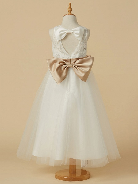 A-Line Ankle Length Wedding / First Communion Flower Girl Dresses - Lace / Tulle Sleeveless Jewel Neck With Sash / Ribbon / Bow(S) / Pleats_2