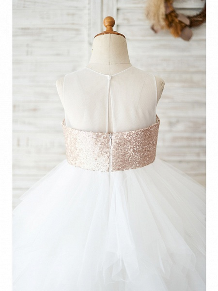 Ball Gown Knee Length Wedding / Birthday Flower Girl Dresses - Tulle / Sequined Sleeveless Jewel Neck With Tiered_4