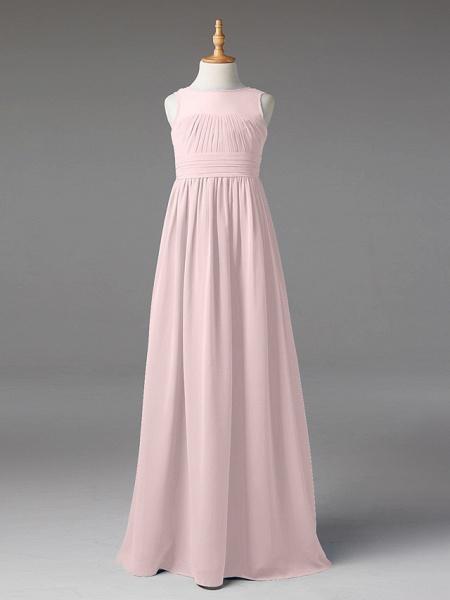 Princess / A-Line Jewel Neck Floor Length Chiffon Junior Bridesmaid Dress With Sash / Ribbon / Pleats_16