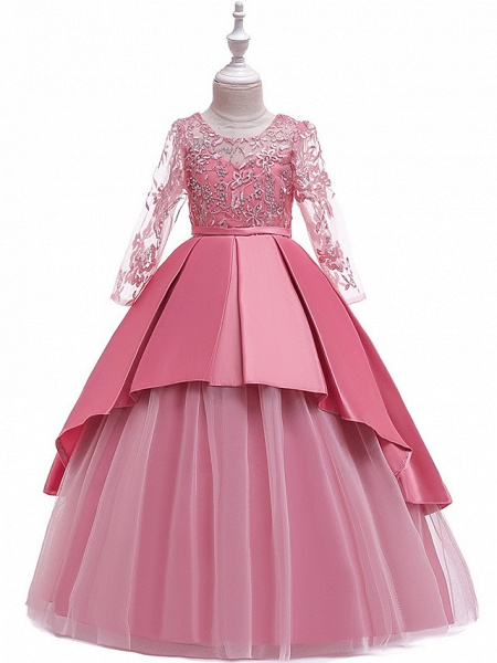 Ball Gown / A-Line Maxi Wedding / Formal Evening / Pageant Flower Girl Dresses - Cotton Blend / Lace 3/4 Length Sleeve Jewel Neck With Lace / Sash / Ribbon / Pleats_4