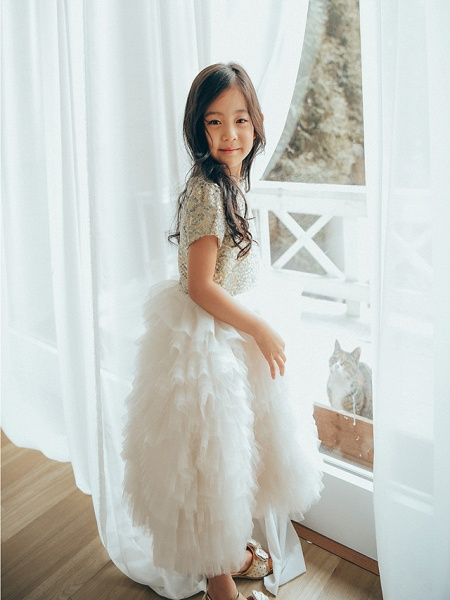 Ball Gown Ankle Length Wedding / Birthday / Pageant Flower Girl Dresses - Tulle / Sequined Short Sleeve Jewel Neck With Paillette_2