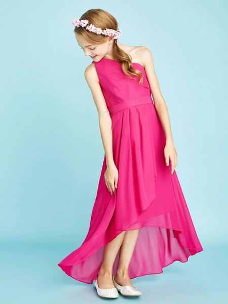 A-Line One Shoulder Asymmetrical Chiffon Junior Bridesmaid Dress With Sash / Ribbon / Bow(S) / Side Draping / Natural_6