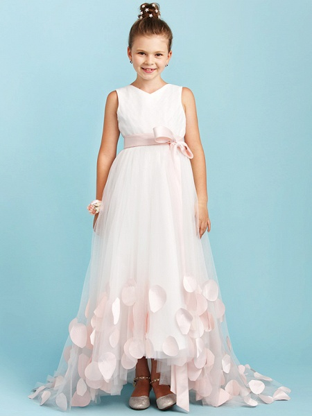 Princess / A-Line V Neck Sweep / Brush Train Satin / Tulle Junior Bridesmaid Dress With Sashes / Ribbons / Bow(S) / Wedding Party_1