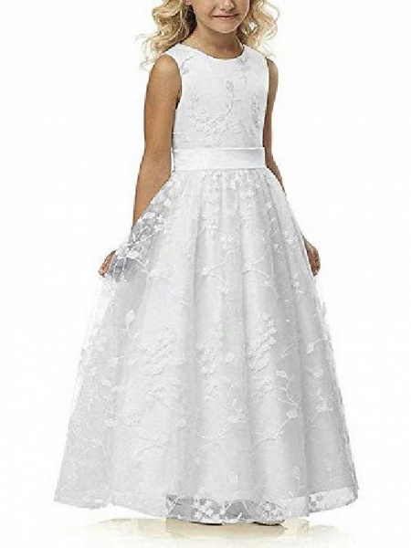 A Line Wedding Pageant Lace Flower Girl Dress With Belt 2-12 Year Old &Amp;;White, Custom Size&Amp;;_1