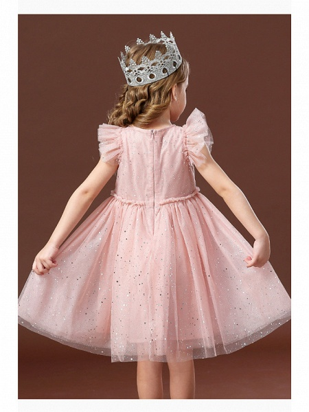 Princess / Ball Gown Short / Mini Wedding / Party Flower Girl Dresses - Tulle Short Sleeve Jewel Neck With Ruffles / Paillette_7