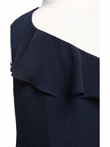 A-Line One Shoulder Floor Length Chiffon Junior Bridesmaid Dress With Ruffles / Natural_6