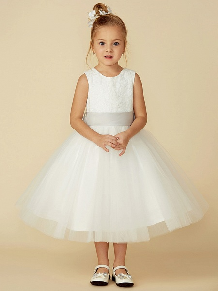 A-Line Tea Length Wedding / First Communion Flower Girl Dresses - Lace / Tulle Sleeveless Jewel Neck With Lace / Sash / Ribbon_1