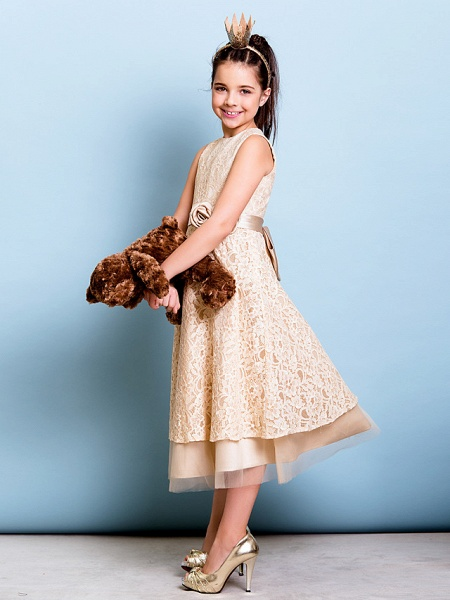 A-Line Jewel Neck Tea Length All Over Floral Lace Junior Bridesmaid Dress With Sash / Ribbon / Bow(S) / Flower / Natural_6