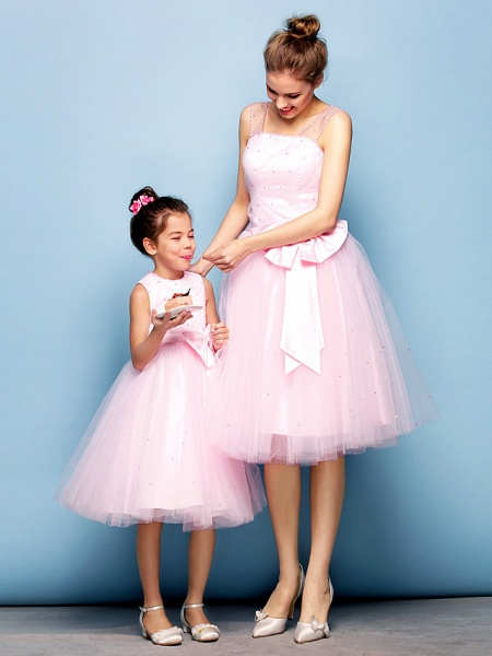 Ball Gown Mini Me Cocktail Party Dress Straps Sleeveless Knee Length Tulle With Sash / Ribbon Bow(S) Beading_3